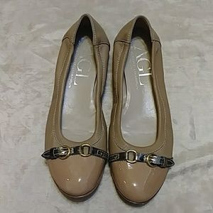 AGL Nude Cap Toe Ballet Leather Flats